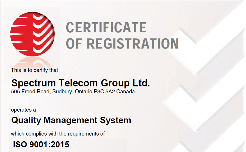 SPECTRUM GROUP Completes ISO 9001:2015 Registration